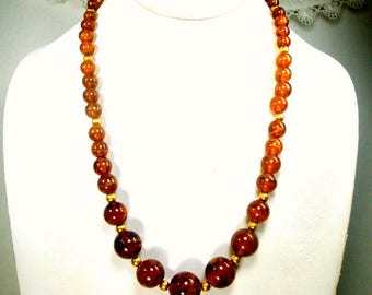 Amber ART Glass Bead Necklace, Graduated Swirled Glass  w Gold Metal Spacer Beads, OOAK R Starr, Recycled Ecochic, 1960s