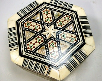 Mid East Wood, Bone n Mother of Pearl Inlay Hinged Box, Hexagon,  Cream, Brown, Black w Pearl Luster, Hand Made Geometry, Islamic Classic