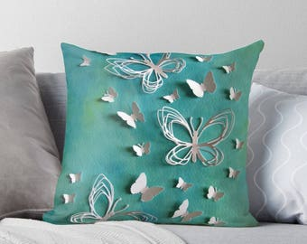 3D White Butterflies Art on Throw Pillow Cover / Decorative Cushion Cover / Fine Art Home Decor / Available in 2 Sizes / Made to Order