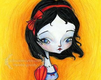 "50% Off SALE 8x10 or 8.5x11 / 11x17 or 13x19  Fine Art Print - ""Snow White""  - Fairy Tale Art Print - Giclee Print of Original Illustration"