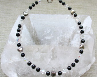 Black Onyx  Heart Anklet Now On Sale Save 30%