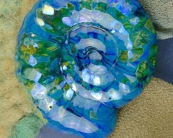 "Lampwork Beads SRA Handmade Glass Ammonite ""Marine"" Large Focal Bead ~ Create Unique Jewellery"
