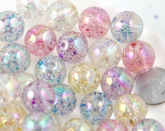 Glitter Beads - 15mm Chunky Transparent Glitter Acrylic or Plastic Beads - 20 pc set