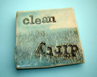 Clean Dirty magnet - dishwasher sign – kitchen gift - handmade ceramics – turquoise pottery – housewarming gift – stocking stuffer
