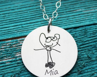 "Custom Child's Artwork 1"" Round Pendant Necklace with your child's drawing or artwork, Sterling Silver"