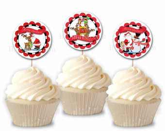 Christmas Santa Rudolph Cupcake Toppers, Christmas Party Picks, Set of 12 Cupcake Toppers CT003