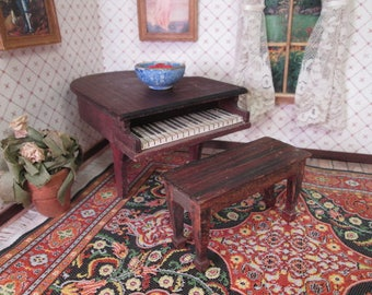 "Vintage Tynietoy Dollhouse Furniture - Piano Bench - 1"" Scale"