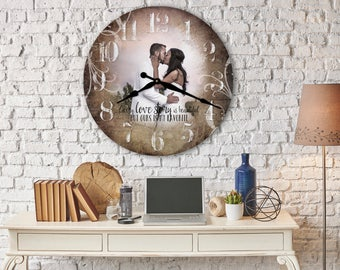 Wedding Bridal Shower Gift for Bride, Unique Present for Couple, Beautiful Personalized Photo Clock, Keepsake for Daughter She will Love