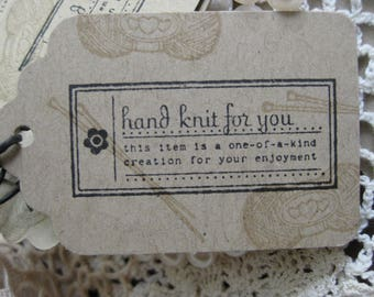 Handmade Homemade Hand Knit For You Hang Tags  Knitting labels Hand Made by for Hand Knit By tags