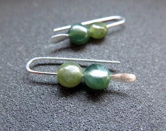 green jade earrings. Canadian jade jewelry. small earring set.