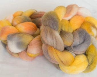 Hand dyed roving, Polwarth, hand dyed top, Handspinning, spindling, fiber, fibre, Polwarth fibre, felting materials, felting projects, felt