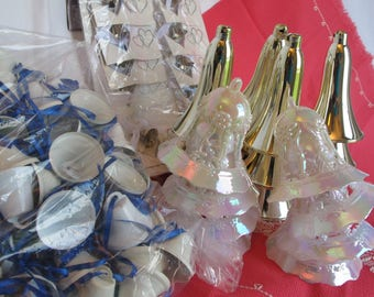 Bells Wedding Christmas Large Assortment Vintage Destash Craft Supplies Bridal Shower Decor Cards Metal Plastic White Gold Blue Ribbon