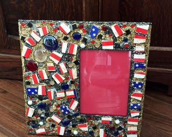 Stars & Stripes Mosaic Picture Frame (holds a 5 x 7 photograph)