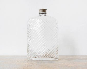 vintage 20s glass flask, large glass flask, 1927 universal art deco glass hip flask