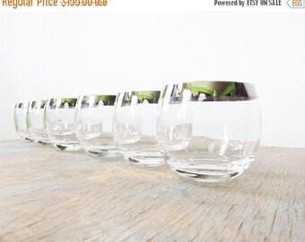20% OFF SALE silver mad men glasses, dorothy thorpe roly poly glasses, vintage 1960s barware