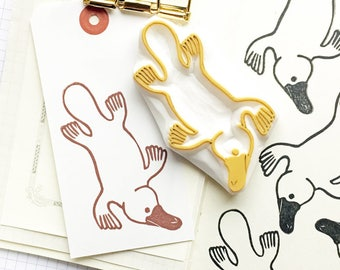 platypus rubber stamp | australian animal stamp | diy birthday card making | gift wrapping | fabric stamping | hand carved by talktothesun