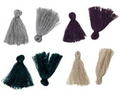 """10 Boho Cotton Tassel 25mm (1"""") long - Choose your colors - Purple, Gray, Champagne or Peacock"""
