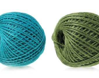 Colorful jute twine - Aqua Blue or Green 5m / 16.4 ft