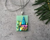 Oh Christmas Tree Dichroic Glass Pendant in Mint and Joy...
