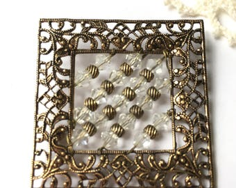 Vintage Ornate Frame with Clear Crystals Pin Brooch
