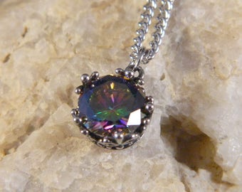 Stainless Steel Multi Colored Crystal Pendant Necklace