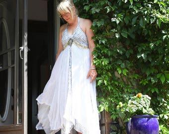 upcycled clothing, upcycled fashion, romantic boho dress . sea talk . S - M