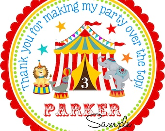 Carnival Favor Tags, Circus Printable Gift Tags,Carnival Birthday Party, DIGITAL Circus Gift Tags - Round or Square Tags