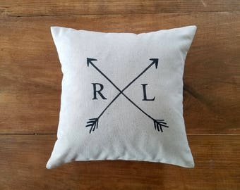 free shipping - arrow pillow - initial - monogram - wedding gift idea - anniversary - engagement - personalized gift  - 2nd anniversary
