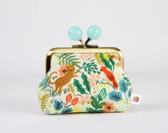 Metal frame coin purse with color bobbles - Jungle natural - Color mum / japanese fabric / Cotton and Steel / Rifle Paper Co / green orange