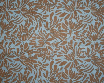 Amy butler daisy chain bouquet taupe and aqua blue cotton quilting fabric destash clearance