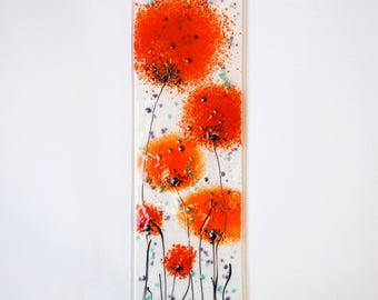 Fused Glass Wall Art - Poppy Art - Handmade Glass Gift - Glass Art - Wall Art - Red Poppy Art - Glass Poppy Wall Art - EH 685