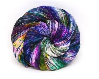 "Glam Rock Sparkle Sock Yarn - ""Acid Rainbow"" -  Handpainted Superwash Merino - 438 Yards"