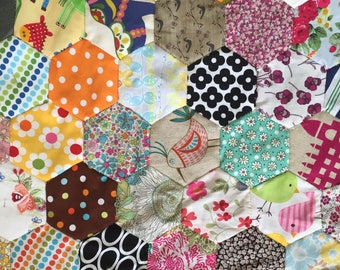DESTASH SALE! Unfinished English Paper Piecing Hexagon Quilt Top + Extra Fabric, Templates + Liberty, Ann Kelle, Cath Kidston Fabric