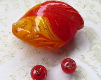 Venetian glass beads red yellow twist set focal