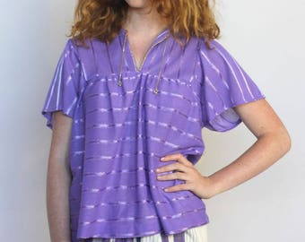the emma top -- vintage 70's striped two-tone purple top size S/M