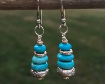 Sleeping Beauty Turquoise, fine silver, dangle earrings, turquoise earrings, december birthstone, blue turquoise