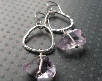 Amethyst Gemstone Earrings- Long Dangle Earrings- Birthstone- Crown Chakra-Long Earrings