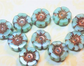 Ski blue with bronze wash  6 pieces 9mm