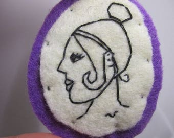 Embroidered Felt Brooch Portrait Greek Lady