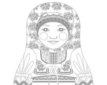 Hmong girl matryoshka coloring sheet printable file Esperanto Coloring Pages Weddings Pictures of Hmong in Laos Hmong Flag Coloring Page