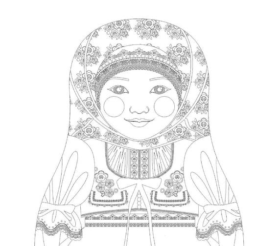 Czech Doll Traditional Dress Coloring Sheet Printable, Matryoshka