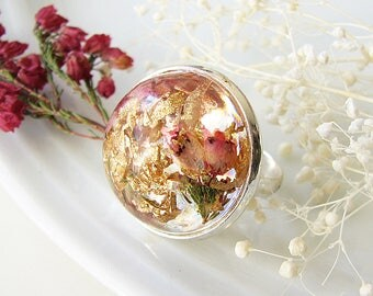 Resin Ring Real Flower Ring Resin Jewelry Statement Ring Pressed Flower Jewelry Heather Jewelry With Gold Flakes