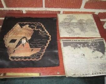 Vintage 1940s/50s Japanese Souvenir Lot of 3 Silk Panels