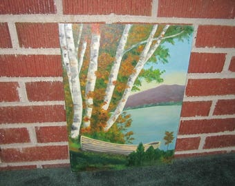 Vintage Original Signed Lakeshore Oil Painting Dated 1964