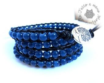 Bracciale uomo, wrap bracelet ,stile chan luu, 4 giri ,nero ,bracciale donna,idea regalo,bracciale blu,con perline,pallini,