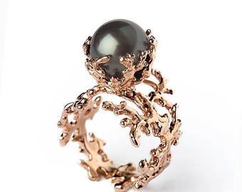 SALE 20% Off - ROSE CORAL Tahitian Pearl Ring, Black Pearl Engagement Ring,  Rose Gold Pearl Engagement Ring, Rose Gold Engagement Ring