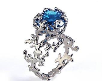 SALE 20% Off - CORAL London Blue Topaz Engagement Ring, 14k Gold Gemstone Ring, Unique Gold Ring,  Blue Topaz Ring, Unique Engagement Ring