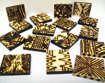 Woodburned Tiles, Abstract Pyrography Squares, Set of 16, Southwestern Style, Decorative Wood Art, Sepia Brown, Small Format Artwork