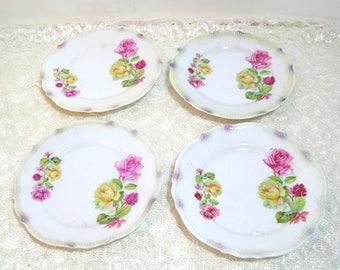 """P K Silesia German China Plates, 6 1/4"""" Plates, Set of Four"""