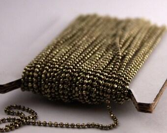 Wholesale Lot 300 feet Spool of Raw Brass facet BALL Chain - Bulk Ball chain Necklace Bracelet - 1.5mm w/ FREE 100 connectors (Crimp)